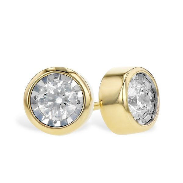 14k Yellow Gold Earrings With 2 Diamonds Orin Jewelers Northville, MI