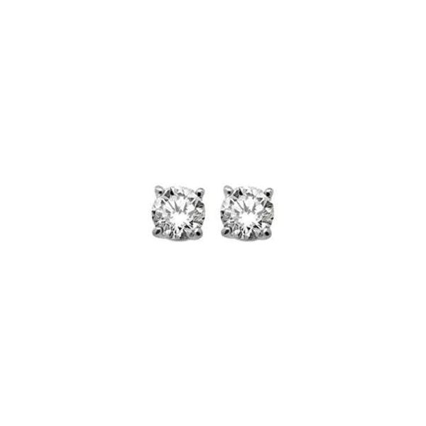 Lady's 18K White Gold Stud Earrings W/2 Diamonds Orin Jewelers Northville, MI