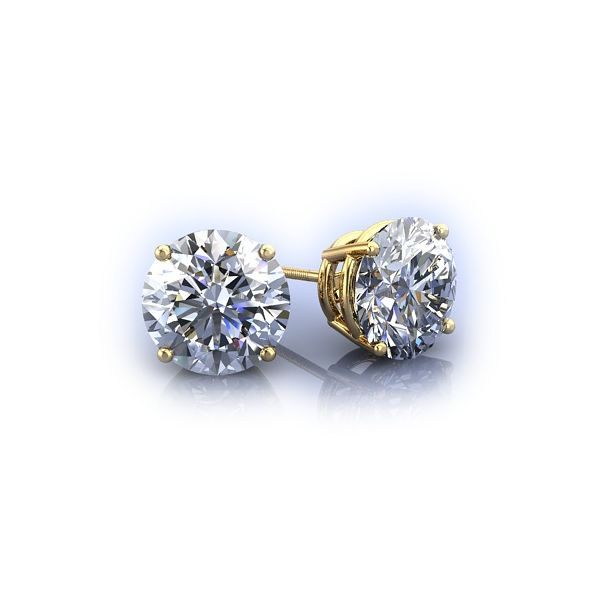 Lady's 14K Yellow Gold Stud Earrings W/2 Diamonds Orin Jewelers Northville, MI