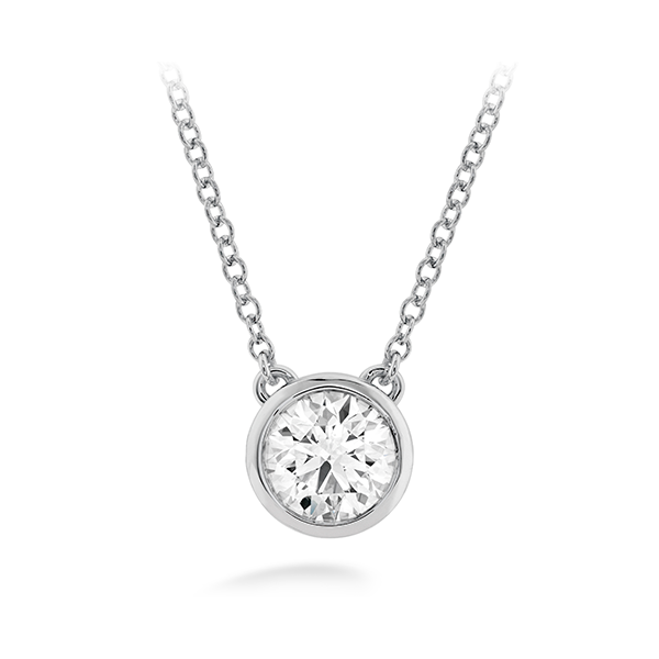 18k White Gold Classic Bezel Solitaire Pendant by Hearts on Fire w/1 Diamond Orin Jewelers Northville, MI