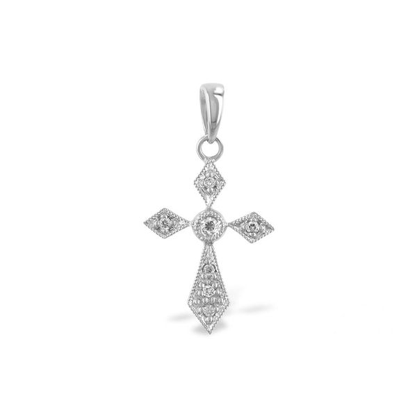 14 Karat White Gold Cross Pendant With 7 Diamonds Orin Jewelers Northville, MI