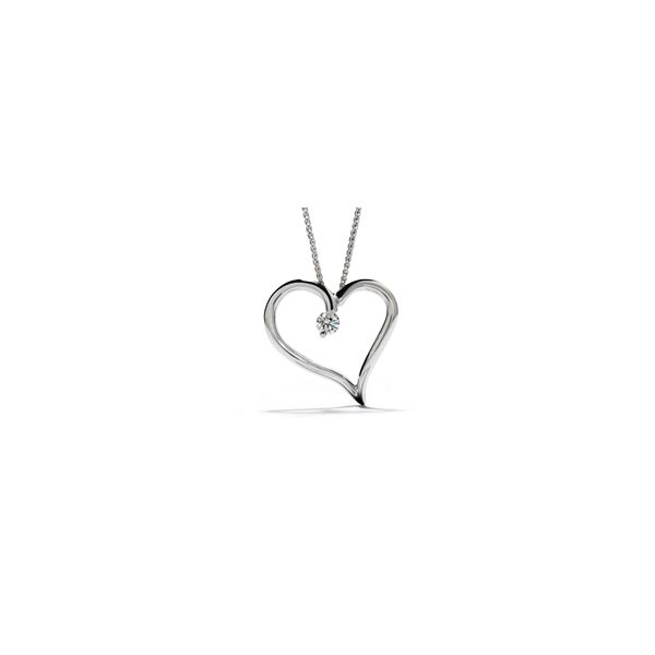 Lady's 18K White Amorous Single Heart Pendant w/1 Diamond Orin Jewelers Northville, MI