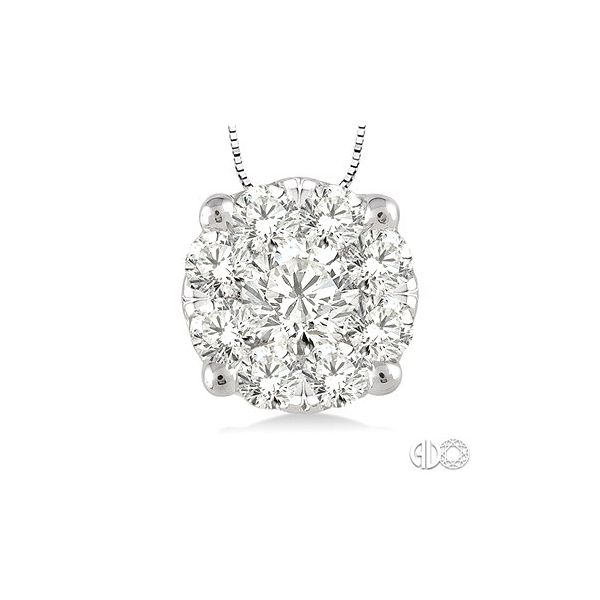 14 Karat White Gold Lovebright Pendant With 9=0.35Tw Round H/I Si1-2 Diamonds Orin Jewelers Northville, MI