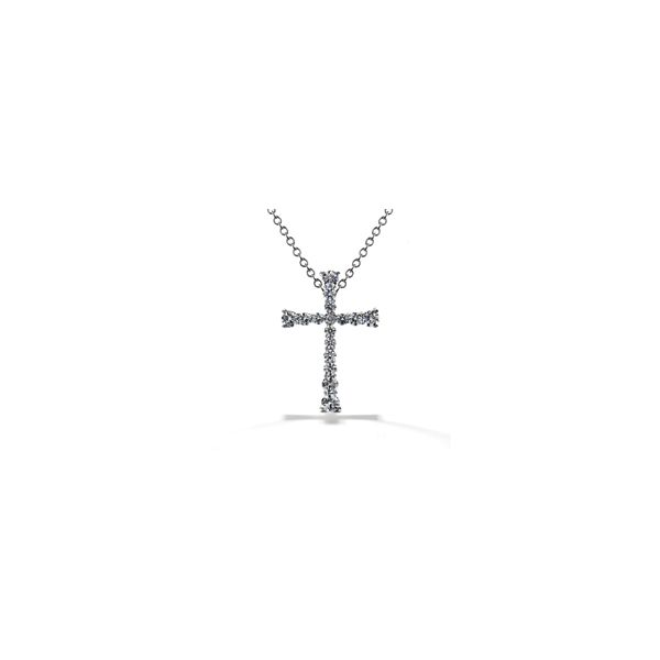 Lady's 18K White Gold Divine Journey Cross Pendant Necklace By Hearts On Fire w/16 Diamonds Orin Jewelers Northville, MI