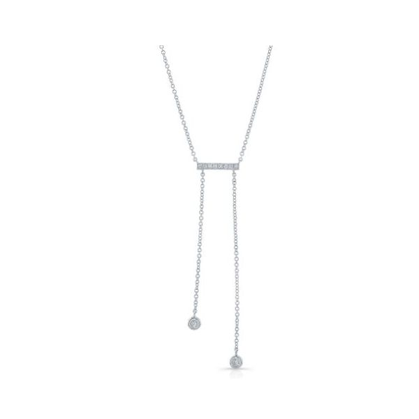Lady's 14k White Gold Pave Bar Drop Necklace With 10 Orin Jewelers Northville, MI