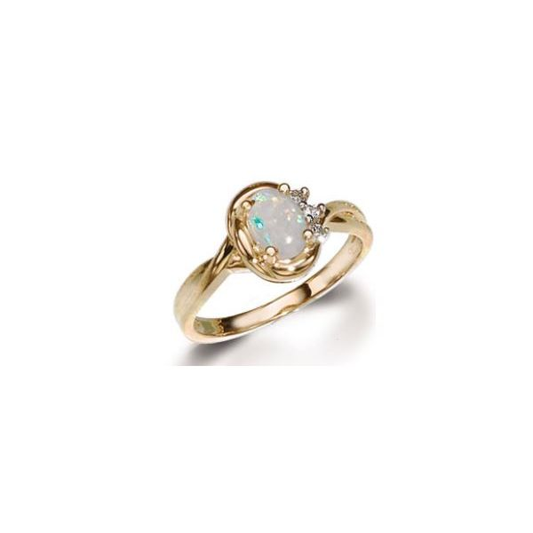 Lady's 14K Yellow Gold Fashion Ring W/1 Opal & 3 Diamonds Orin Jewelers Northville, MI