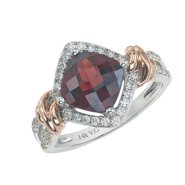 Lady's 14K Two Tone Gold Fashion Ring w/1 Garnet & 38 Diamonds Orin Jewelers Northville, MI