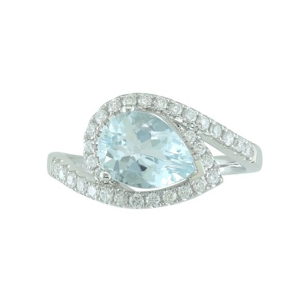 Lady's 14k White Gold Ring With Aquamarine & 32 Diamonds Orin Jewelers Northville, MI