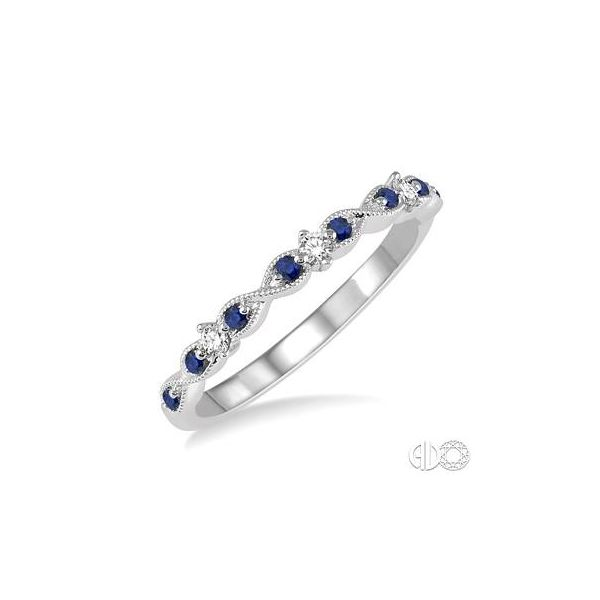 14k White Gold Fashion Ring With 8 Sapphires & 3 Diamonds Orin Jewelers Northville, MI