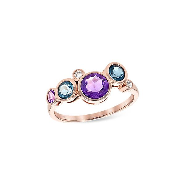 14k Rose Gold Ring With Amethysts, Blue Topaz, & Diamonds Orin Jewelers Northville, MI