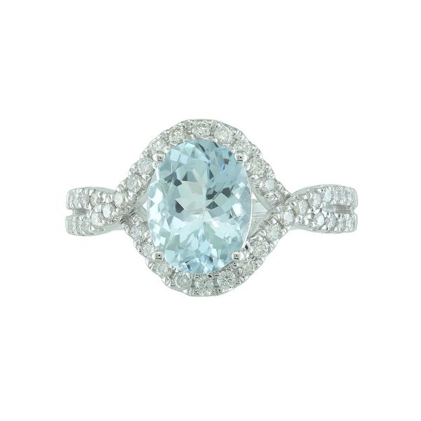 Lady's 14k White Gold Ring With Aquamarine & 40 Diamonds Orin Jewelers Northville, MI