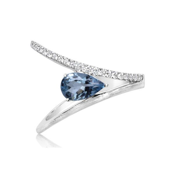 14k White Gold Aquamarine & Diamond Ring Orin Jewelers Northville, MI