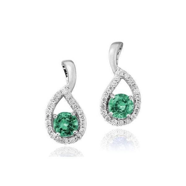 Lady's 14K White Gold Earrings W/2 Emeralds & 40 Diamonds Orin Jewelers Northville, MI