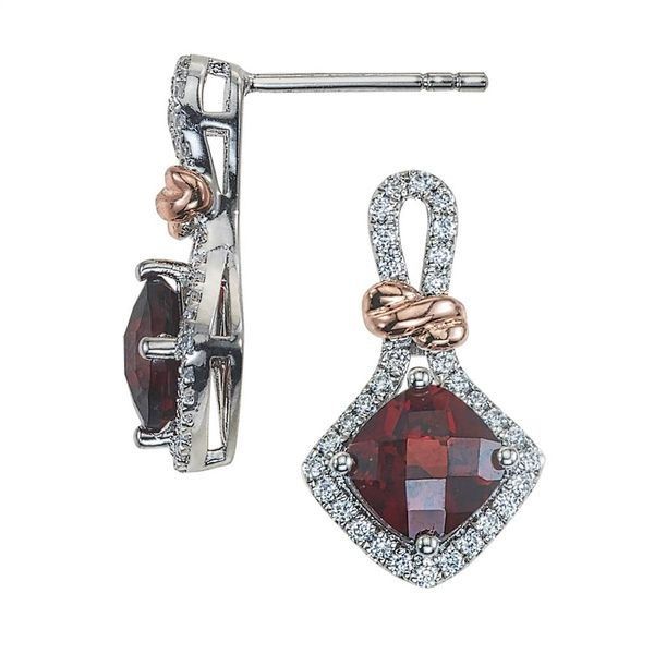 Lady's 14K Two Tone Gold Earrings w/2 Garnets & 64 Diamonds Orin Jewelers Northville, MI