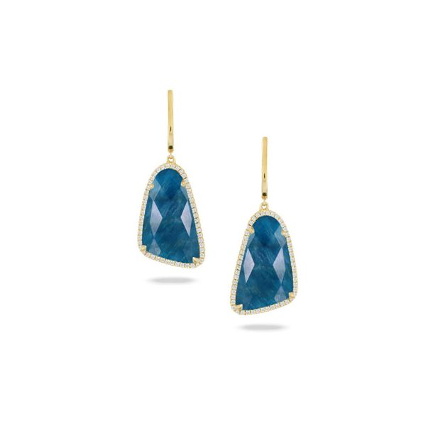 18k Yellow Gold Clear Quartz over Apatite Earrings With Diamonds Orin Jewelers Northville, MI