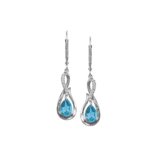 14k White Gold Blue Topaz & Diamond Earrings Orin Jewelers Northville, MI