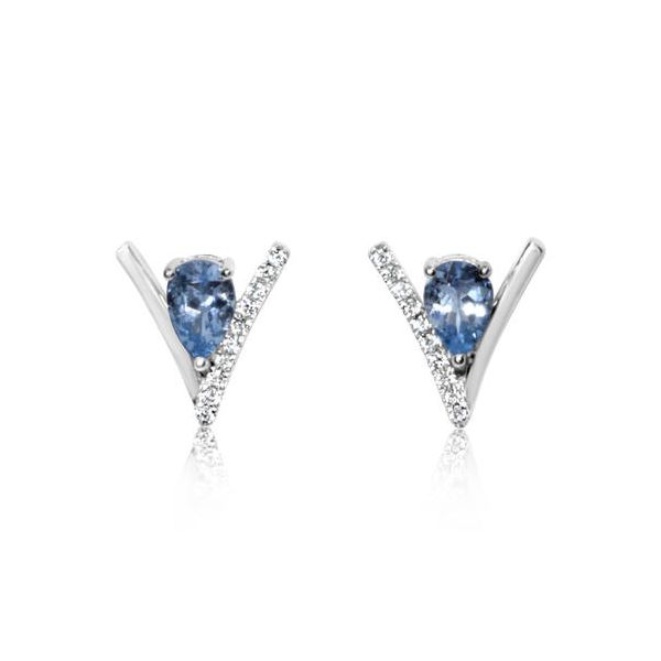 14k White Gold Aquamarine & Diamond Earrings Orin Jewelers Northville, MI
