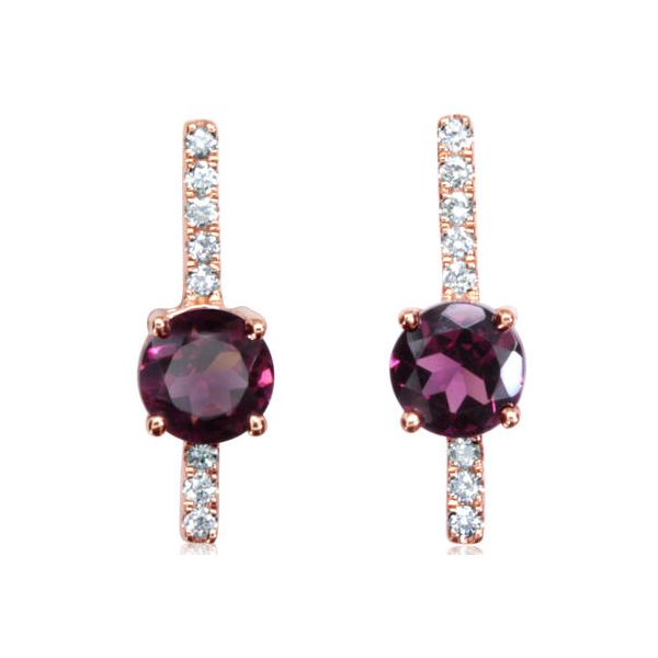 14k Rosé Gold Amethyst & Diamonds Earrings Orin Jewelers Northville, MI