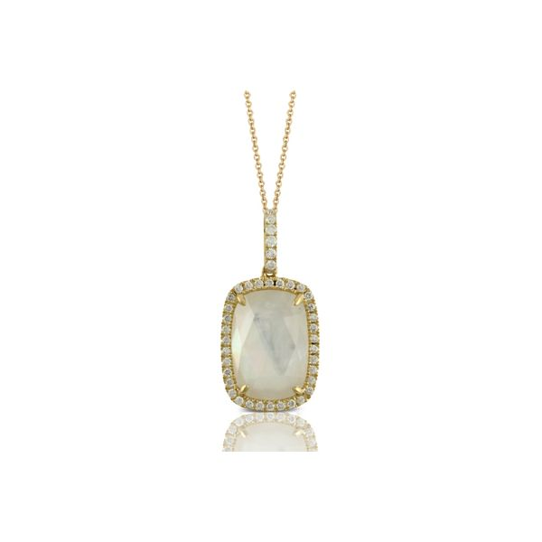 18kyg Pendant with Clear Quartz over White Mother-of-Pearl & 40 Diamonds Orin Jewelers Northville, MI