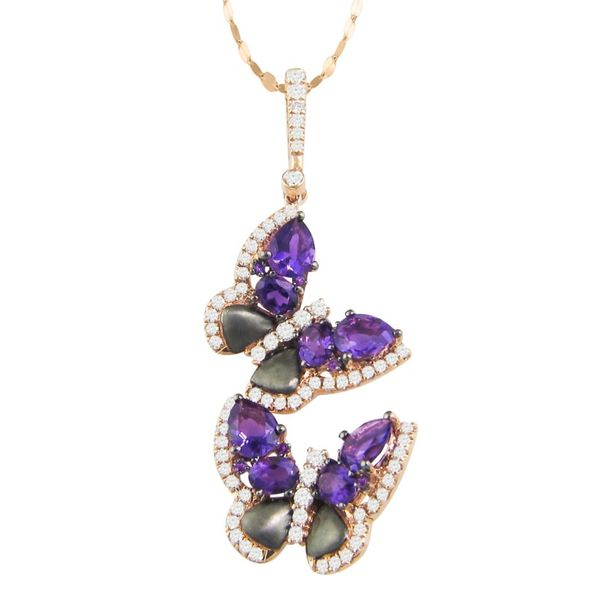 Lady's 14k Rosé Gold & Black Rhodium Butterfly Pendant With Amethysts & Diamonds Orin Jewelers Northville, MI