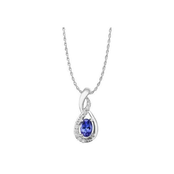Lady's 14K White Gold Pendant w/1 Tanzanite & 11 Diamonds Orin Jewelers Northville, MI