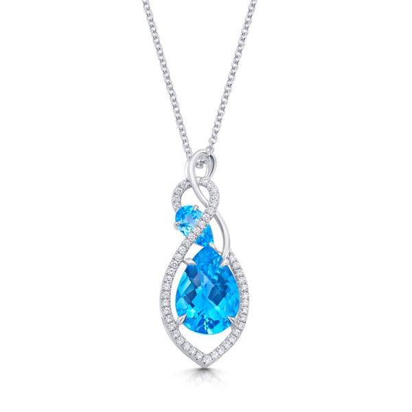 14k White Gold Blue Topaz & Diamond Pendant Orin Jewelers Northville, MI