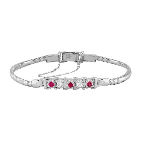 14k White Gold Add-A-Link Bracelet With Rubies & Diamonds Orin Jewelers Northville, MI