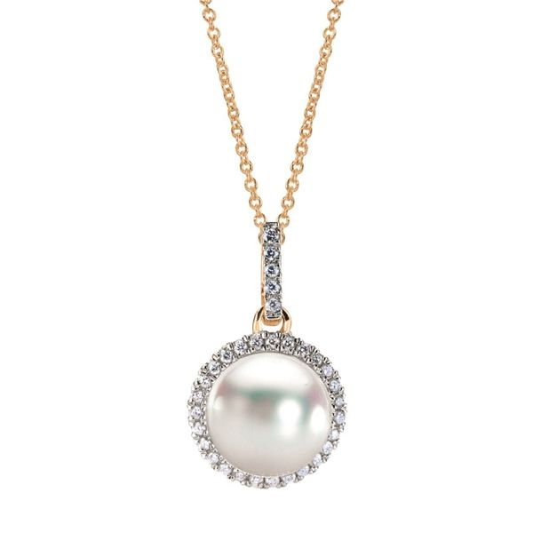 Lady's 14K Yellow Gold Pendant W/1 Akoya Pearl & 32 Diamonds Orin Jewelers Northville, MI