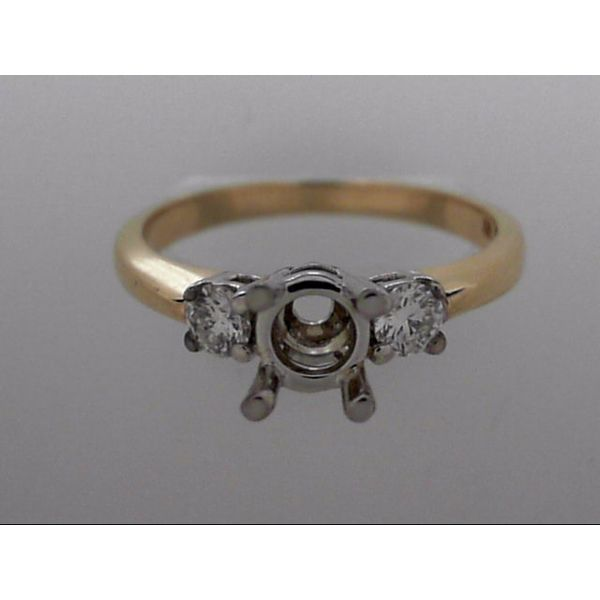 Lady's 14K Gold Two Tone 3-Stone Ring Mounting w/2 Diamonds Orin Jewelers Northville, MI
