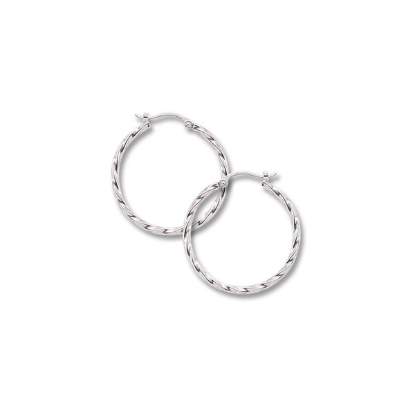 Lady's 14K White Gold Twisted Hoop Earrings Orin Jewelers Northville, MI
