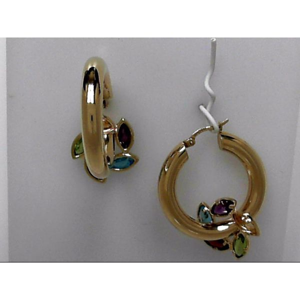 14k Yellow Gold Hoop Earrings With Gemstone Pinwheels Orin Jewelers Northville, MI