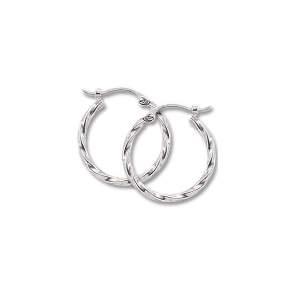 14k White Gold Twisted Hoop Earrings Orin Jewelers Northville, MI