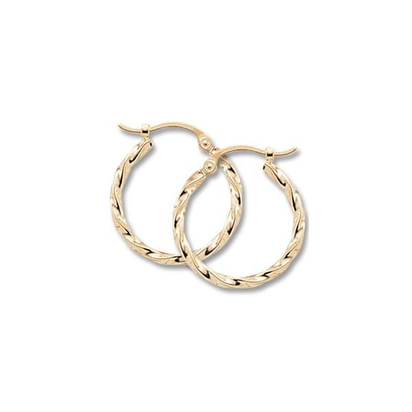 14k Yellow Gold Twisted Tube Hoop Earrings Orin Jewelers Northville, MI
