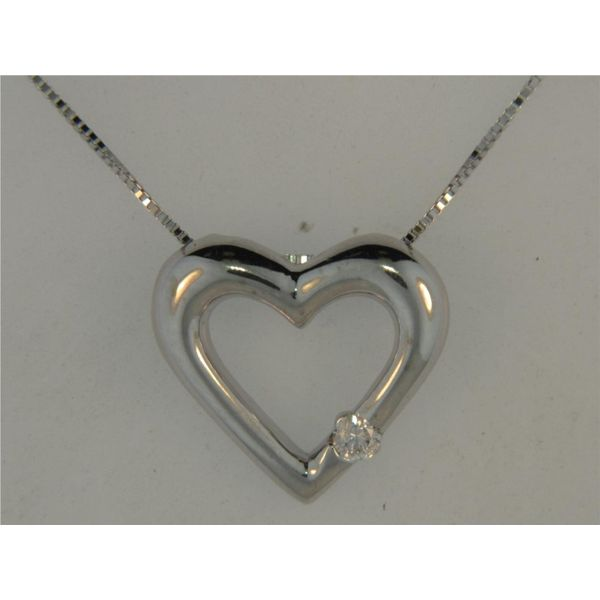 14k White Gold Heart Necklace With 1 Diamond Orin Jewelers Northville, MI