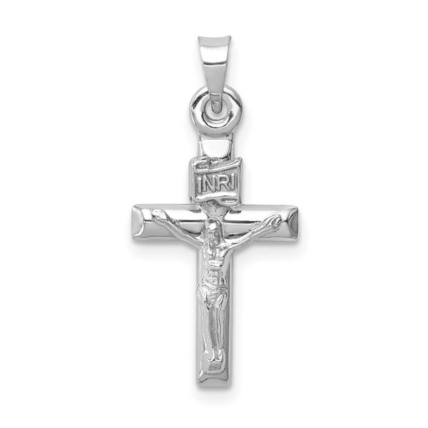 14k White Gold Hollow Crucifix Pendant Orin Jewelers Northville, MI