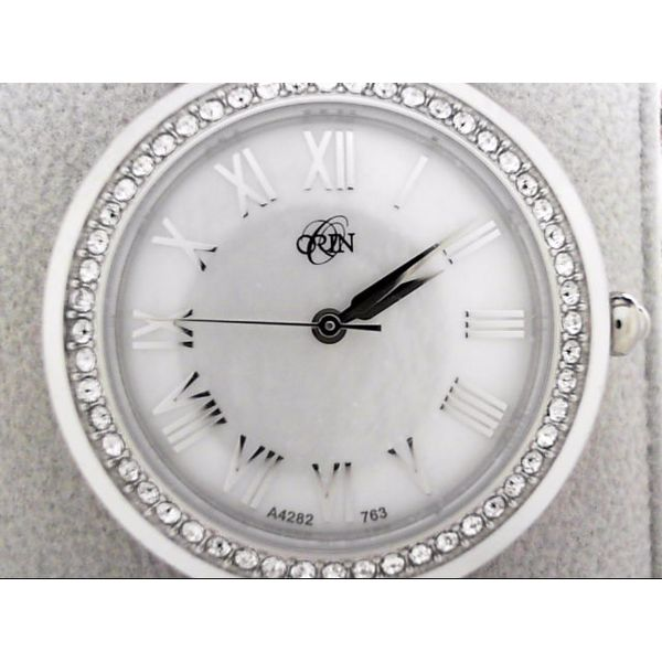 Lady's ORIN Watch White Case & Band, MOP Dial, Swarovski Crystal Accents Orin Jewelers Northville, MI