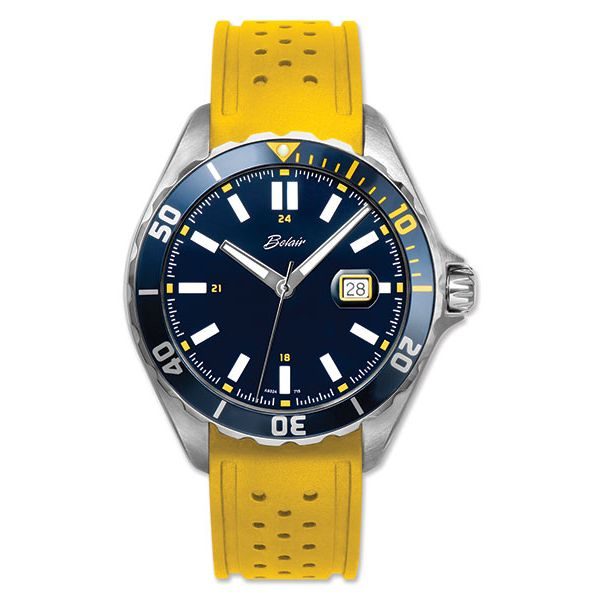 Gent's ORIN Watch White Case With Blue Dial, Yellow Rubber Strap Orin Jewelers Northville, MI