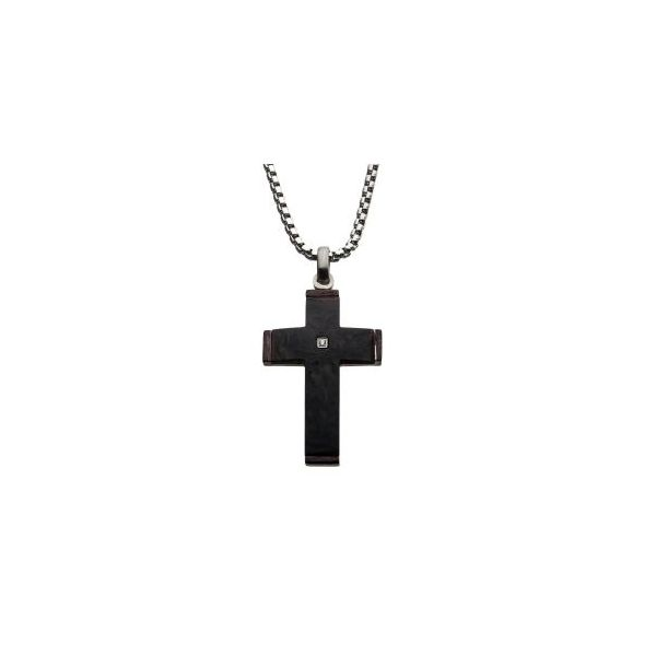 Carbon Fiber Cross Pendant With Diamond Accent, Stainless Steel Chain Orin Jewelers Northville, MI