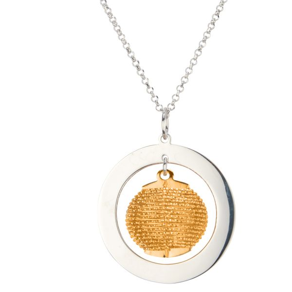 Lady's Sterling Silver & Yellow Gold Plated Solar Wrap Pendant Orin Jewelers Northville, MI
