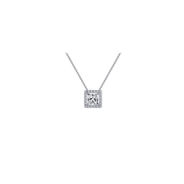 Sterling Silver Princess Shape Halo Pendant With CZs Orin Jewelers Northville, MI