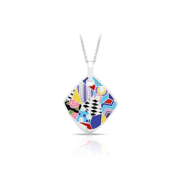 Lady's Sterling Silver Quilt Pendant With Multi Color Enamel & White CZs Orin Jewelers Northville, MI