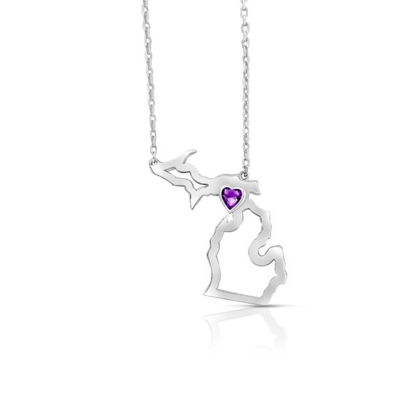 Sterling Silver Michigan Pendant With Heart Shape Amethyst Orin Jewelers Northville, MI
