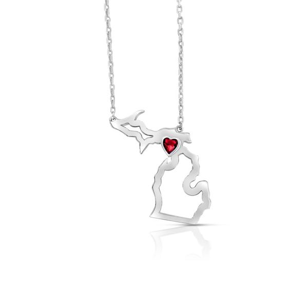 Sterling Silver Michigan Pendant With Heart Shape Ruby Orin Jewelers Northville, MI