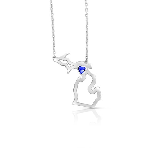 Sterling Silver Michigan Pendant With Heart Shape Sapphire Orin Jewelers Northville, MI