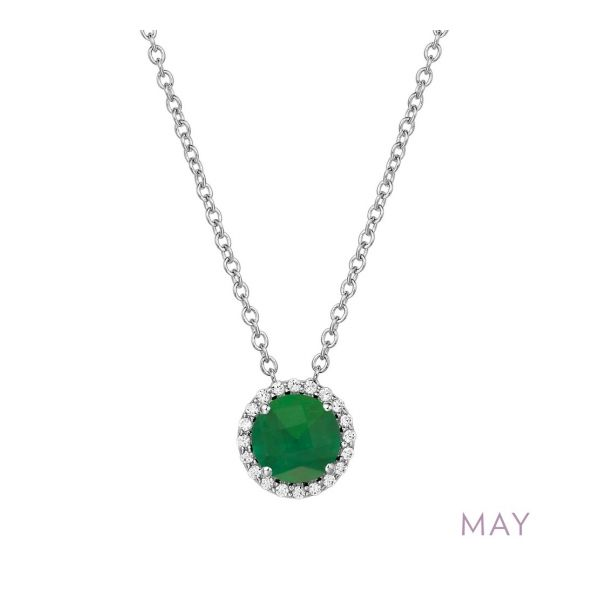 Sterling Silver Simulated Emerald & CZ Pendant Orin Jewelers Northville, MI