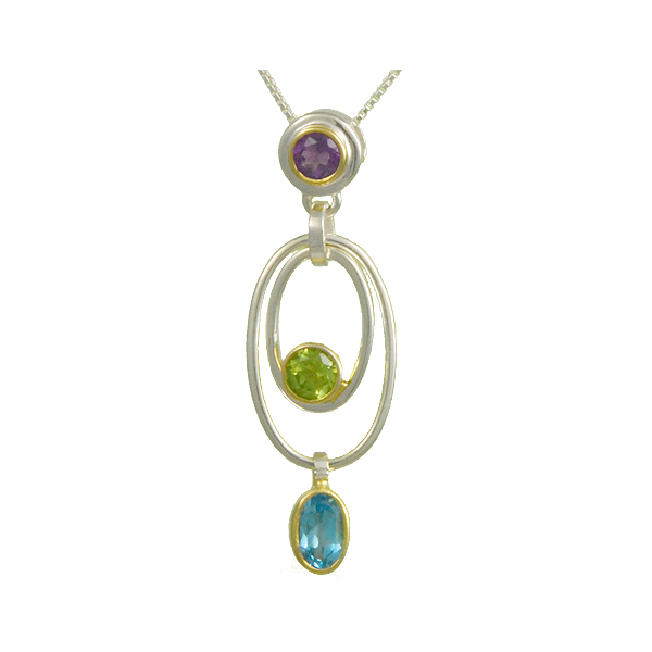 Lady's Two Tone Sterling Silver & 22K Gold Vermeil Overlay Pendant w/3 Colored Stones Orin Jewelers Northville, MI