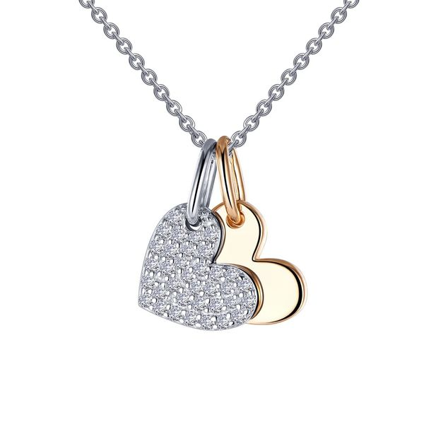 Sterling Silver & Gold Plated Heart Shadow Charm Necklace Orin Jewelers Northville, MI