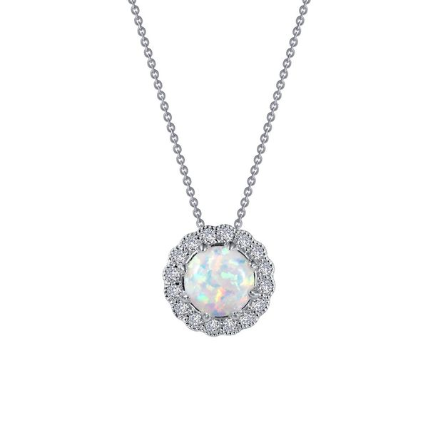 Sterling Silver Pendant With Simulated Opal & 16 Cubic Zirconias Orin Jewelers Northville, MI