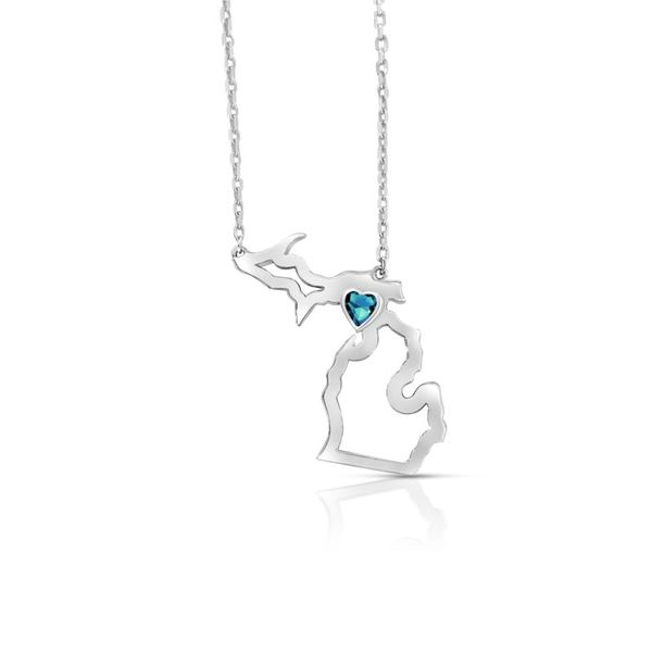 Sterling Silver Michigan Pendant With Heart Shape Blue Topaz Orin Jewelers Northville, MI