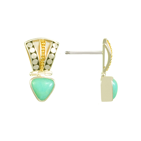 Lady's Two Tone Sterling Silver & 22K Gold Vermeil Overlay Earrings w/2 Amazonites Orin Jewelers Northville, MI